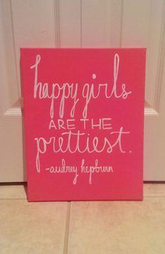 Happy Girls are the Prettiest Audrey Hepburn Canvas Quote Art