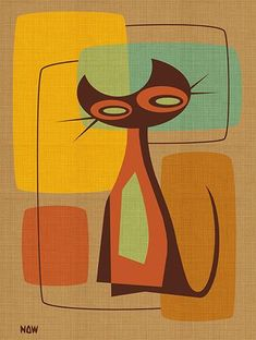 Mod Cat by Now Modern Retro Kitty 1960s Colors Canvas Fine Art Print