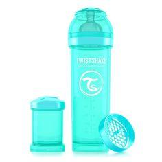 Deze turquoise Twistshake babyfles heeft een flesinhoud van ruim 330ml en wordt standaard geleverd met een turquoise  melkpoederdoosje waar ongeveer 8 schepjes flesvoeding in kunnen. Ook is de fles uitgerust met een reisdop zodat je baby's fles hygiënisch vervoert kan worden.