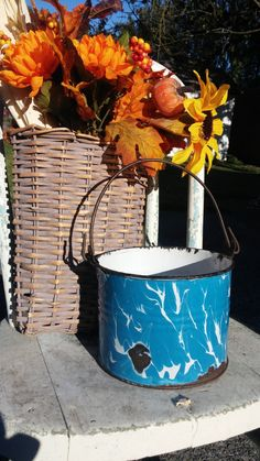 Cobalt Blue Graniteware berry bucket by SweetheartAntiques on Etsy