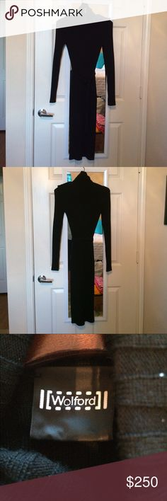 ⚜️Black Wolford Knit Dress⚜️ Black midi knit Wolford dress. A turtle neck with button detailing in shoulders. Very comfortable and fits very well! No sizing on tag, however fits about a S/M. wolford Dresses Midi