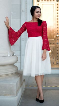 Ccream colored tulle skirt in a below the knee, midi length paired with a red lace off the shoulder top - perfect holiday party look! – I Do Declare Boutique