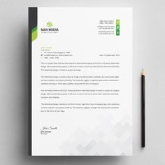 Modern Company Letterhead With Green Elements Professional Letterhead Template, Company Letterhead Template, Free Letterhead Templates, Certificate Design Template, Business Letter Layout, Business Card Mock Up, Business Card Design, Corporate Business, Creative Business
