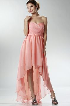 Party Dresses/Formal Dresses/Long Prom Dresses/High Low Skirt Sweetheart Fitted And Pleated Bodice Chiffon Dress - Aimee High Low Bridesmaid Dresses, Grad Dresses Short, Prom Dresses 2016, Formal Dresses, Bridesmaids, Satin Dresses, Chiffon Dress, Chiffon Beading, Cheap Party Dresses