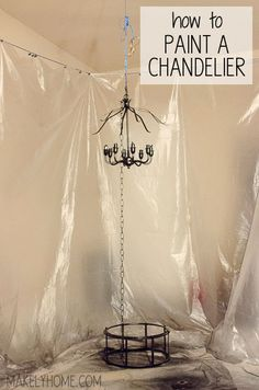 how to hang a chandelier for easy spray painting via MakelyHome.com