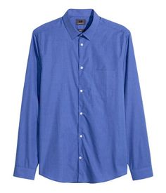 Long-sleeved shirt in premium cotton fabric with a slight melange appearance. Turn-down collar and one chest pocket. Slim fit. Blue.   H&M Men's Classics