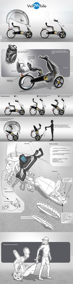 B'TWIN: velomobile concept designed Lucian Nicolae Acatrinei from Romania - Tap the link to shop on our official online store! You can also join our affiliate and/or rewards programs for FREE! Scooter Custom, E Scooter, Electric Scooter, Electric Cars, Mobiles, Velo Design, Tricycle Bike, Scooter Design, Futuristic Motorcycle