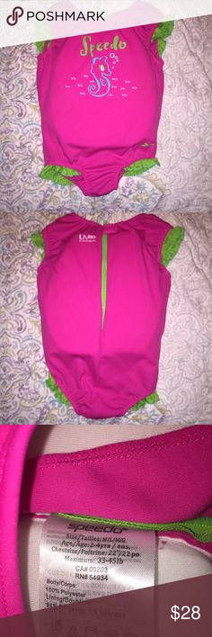 Speedo Girls Pink Float Suit M/L 2-4 years I'm excellent condition like new. Only used once. Only sign of use is on the inside float see 4th photo very minor flash doesn't show it too much a bit darker in person. It is a bathing suit and life vest all in one very comfortable. Size M/L 2-4 years old up to 45lb. Much more comfortable than a life vest. Speedo Swim One Piece
