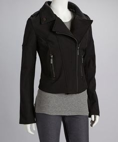 Another great find on #zulily! Black Side Zip Motorcycle Jacket - Women #zulilyfinds