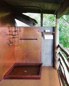 I love the idea of a copper shower. Copper Shower Pan with Copper Wall Panels by Diamond Spas. They use copper with high recycled content Copper Tub, Copper Wall, Copper Bathroom, Copper Decor, Japan Design, Bathroom Shower Panels, Shower Walls, Pool Bathroom, Bath Shower