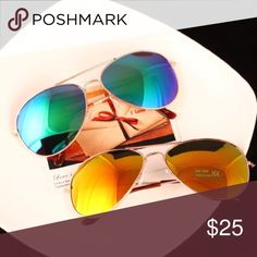 Summer Must Have Aviator Women Sunglasses Mirrored Brand new and good quality. UV Protection. Which color do you like? Blue-Green or Golden? To buy, please comment the color and I'll make you a separate listing. Accessories Sunglasses