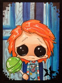 Sugar Fueled Chucky Child's Play Horror lowbrow creepy cute big eye ACEO mini print on Etsy, $4.00