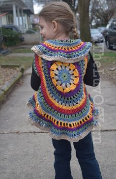 Crochet Mandala Vest Circle Vest Girls Crochet by 4TheLuvOfYarn