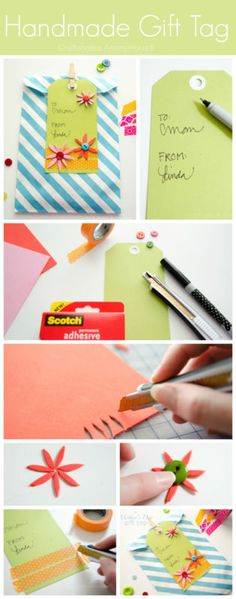 Easy peasy gift tag that comes together in minutes! Adding a handmade gift tag always adds a personal touch to any gift.