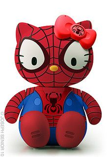 Hello Kitty as Spiderman ~ Love it! ~ 50 Hello Kitty Model Crossover by Joseph Senior Hello Kitty Art, Hello Kitty Toys, Spiderman, Batman, Captain America, Hello Kitty Characters, Hello Kitty Collection, Geek Art, Cultura Pop