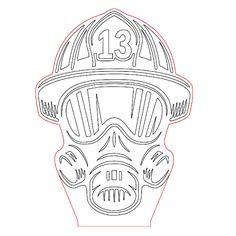 Fire helmet acryle led lamp vector file for CNC - 3bee-studio