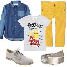 Per una giornata di festa il nostro bambino ha scelto un look particolare, abbinando pantalone yellow a t-shirt con stampa, e a camicia di jeans da portare aperta. Completano il look stringate in tela grigio e cintura Levi's. Trendy già da piccolo.