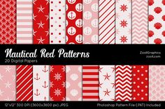 Nautical Red Digital Papers