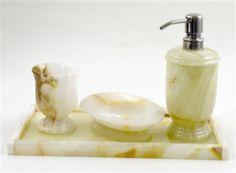 white onyx 4 piece bathroom decor accessory set with vanity tray white onyx is one