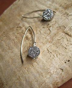 Silver Druzy Earrings Titanium Drusy Quartz by julianneblumlo, $58.00