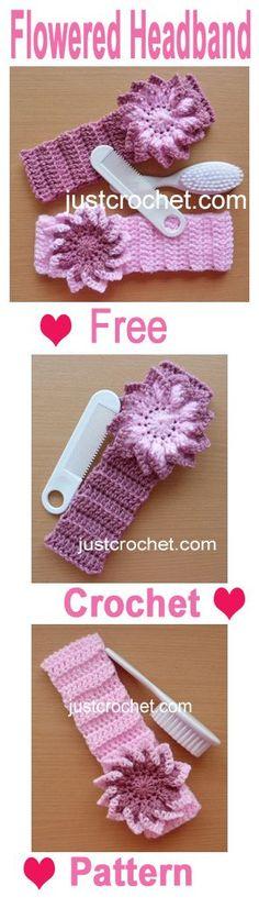 Pretty little girls flowered headband, to fit 6-12 months, free crochet pattern.