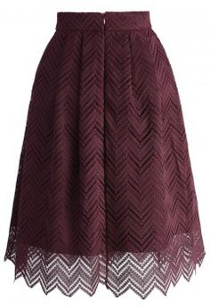 Zig Zag Full Lace Pleated Skirt in Plum - Skirt - Bottoms - Retro, Indie and Unique Fashion