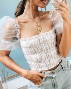 Square Neck Sheer Mesh Puffed Sleeve Blouse Women's Online Shopping Offering Huge Discounts on Dresses, Lingerie , Jumpsuits , Swimwear, Tops and More. Ruffles, Mode Vintage, Mode Inspiration, Fashion Outfits, Womens Fashion, Latest Fashion, Style Fashion, Fashion Trends, Pattern Fashion