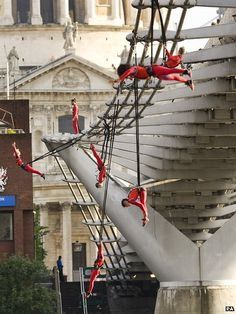Extreme Dancers performing on Millennium Bridge ahead of the Olympic games opening