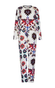 Mechanical Floral Print Jumpsuit by MSGM for Preorder on Moda Operandi