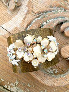 Vintage Lace Cuff Bracelet Rhinestone Cuff by StunningByDesign