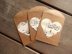 Mini Kraft Envelope-Vintage Sheet Music Wedding Favor Envelope by Lemon Drops and Lilacs on etsy.com