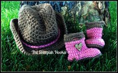 Baby Cowboy or Cowgirl SetIncludes Hat & Boots by sheepishhooker, $35.00