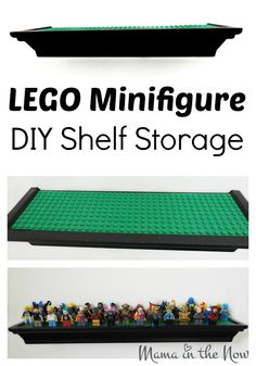 Perfect LEGO storage and display solution. LEGO toy storage ideas for a cute LEGO display. LEGO minifigure display for a cute kid's room! Lego Table With Storage, Lego Storage, Kids Storage, Storage Ideas, Craft Storage, Storage Solutions, Legos, Mesa Lego, Lego Shelves