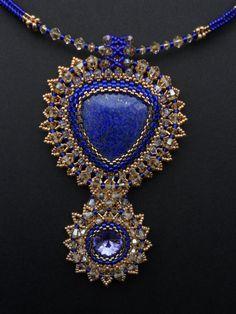 Swarovski+crystals+and+Lapis+lazuli+pendant.+by+AfinaBeads+on+Etsy,+€140.00