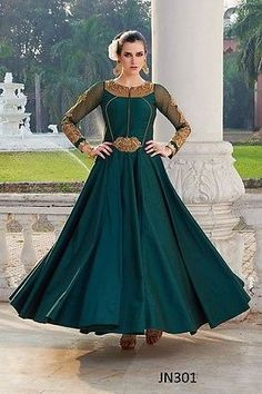 Buy Snapyshopy Green Hand Work Bengalori Tapeta Anarkali Gown online in India at best price.Shop online for Designer Snapyshopy Cream colord Hand Work Bengalori Tapeta Anarkali Gown in India at Indian Wedding Outfits, Indian Outfits, Anarkali Gown, Anarkali Suits, Lehenga Saree, Frocks And Gowns, Net Gowns, Western Gown, Western Wear