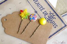 #Yellow #Hair Pin Bobby Pin Hair Clip Button Bobby by chezviolette www.pinterest.com/cocoflower #handmade #craft #diy #fashion #beauty #gifts