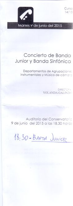 Concierta Banda Junior del  Conservatorio Profesional de Música de Oviedo. 09/06/2015 18:30 horas