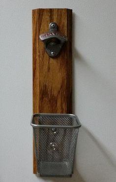 WALL MOUNT BOTTLE OPENER WITH CAP CATCHER SOLID WOOD BEER OPENER GIFT MAGNETIC