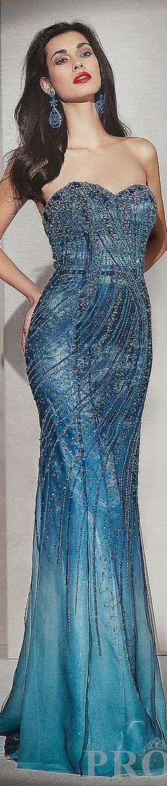 Fashion long formal dress #strapless #glitter #sexy #blue