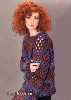 Raglan sweater.  Crocheted.  Russian pattern - use Google Chrome to translate.