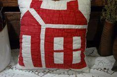Antique Red Cream School House Patchwork Quilt Pillow 9 x 10 Dubbie-du #NaivePrimitive #PrimitveEwe