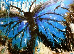 Abstract Butterfly Blue Art - by Carrie Bloomfield #art #butterfly