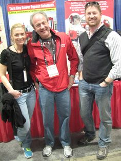Jenny Aronson Lescohier Editor - Rental at AC Business Media with Terry Aylward of Griffin Pump (Houston, Texas) and Eric Servais Publisher at AC Business Media (Rental) all at ConExpo 2014 in Las Vegas.