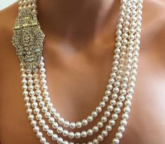 Long Flapper Pearl Necklace Great Gatsby with Backdrop and Art