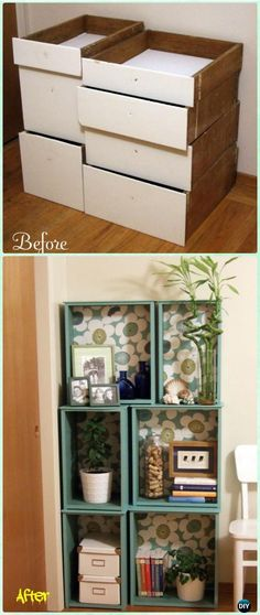 DIY Salvaged Drawers Modular Bookcase Instruction - Practical Ways to Recycle Old Drawers for Home #Furniture