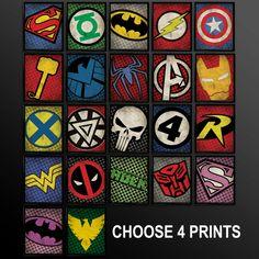 Set of 4 Superhero Kids Wall Art Decor by TheCuttingEdgeShop