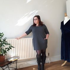The most comfortable dress ever made – Heather dress by Sew Over It – All Sew Petite Sew Over It, Tights And Boots, Extra Fabric, Staple Pieces, Pyjamas, Knitted Fabric, Color Blocking, Sewing Patterns, Cold Shoulder Dress