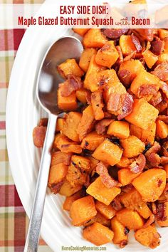 This Maple Glazed Butternut Squash with Bacon recipe makes an easy side dish during the autumn months. It's also works great as a delicious breakfast with a fried egg on top.