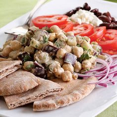 Middle Eastern Chickpea Platter.... hummus and baba ganouj---in one easy dish...yum!