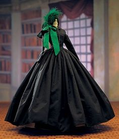 Scarlett O'Hara Hamilton's green Christmas dress and the hat Rhett Butler brought her from Paris in 'Gone With The Wind'.